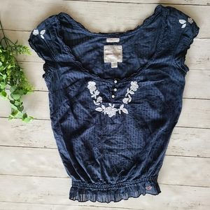 Hollister Blue Embroidered Top